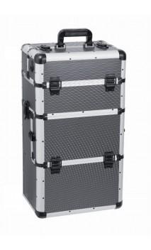 Kosmetikos lagaminas su ratukais pilkas