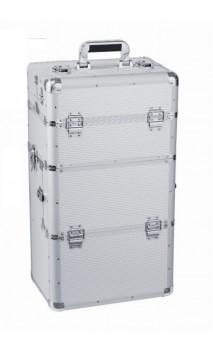 Kosmetikos lagaminas su ratukais sidabrinis